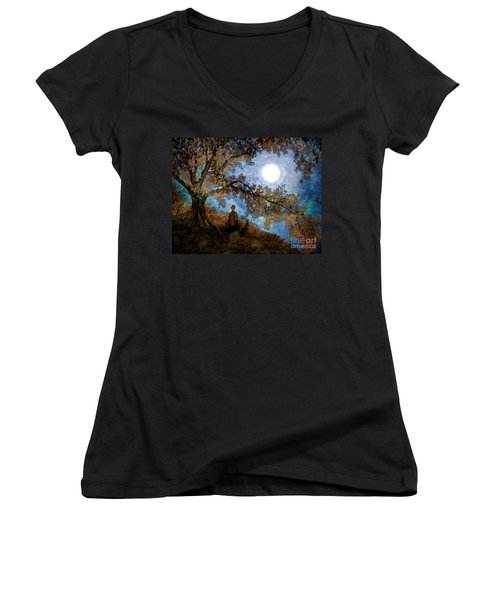 Harvest Moon Meditation Women's V-Neck T-Shirt