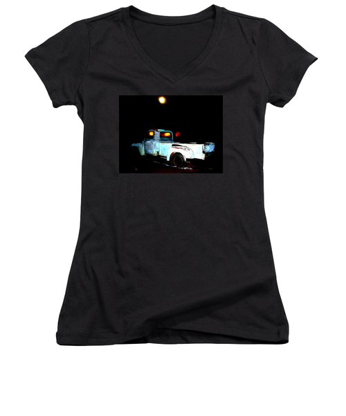 Women's V-Neck T-Shirt (Junior Cut) featuring the digital art Haunted Truck by Cathy Anderson