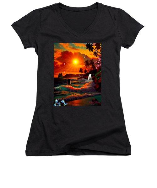 Women's V-Neck T-Shirt (Junior Cut) featuring the digital art Hawaiian Islands by Michael Rucker