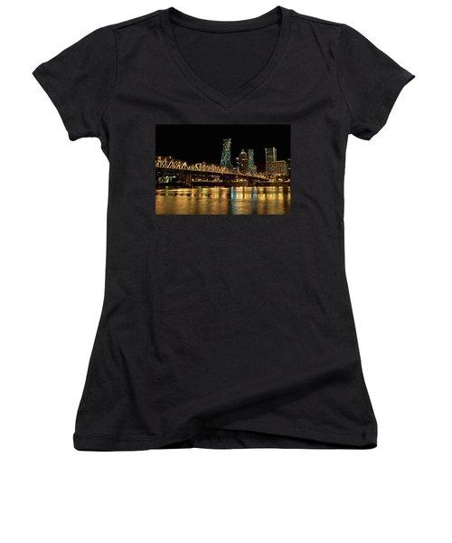 Hawthorne Bridge Over Willamette River Women's V-Neck T-Shirt (Junior Cut)