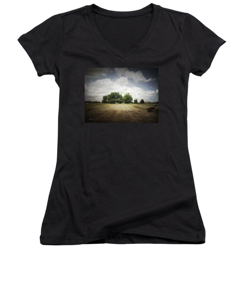 Haying At Angustown Women's V-Neck T-Shirt