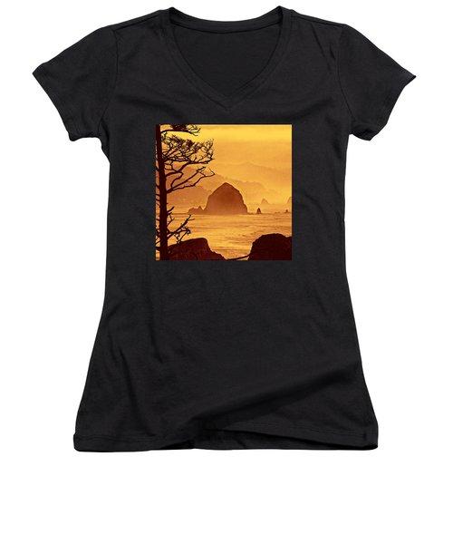 Women's V-Neck T-Shirt (Junior Cut) featuring the photograph Haystack Burnt Sienna by Wendy McKennon