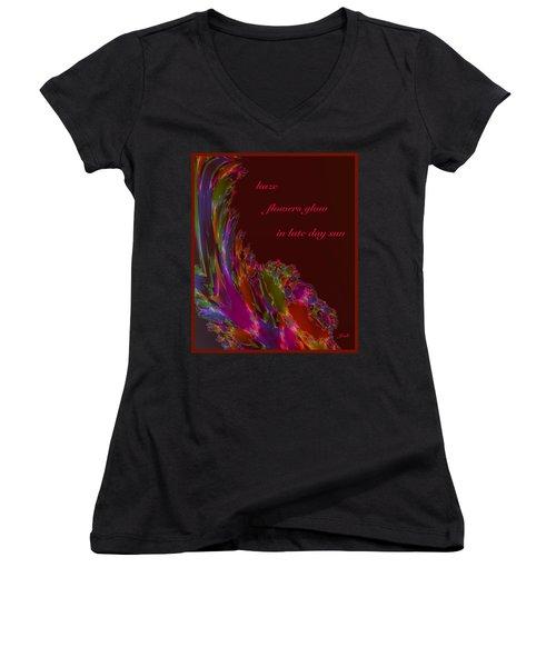 Women's V-Neck T-Shirt (Junior Cut) featuring the digital art Haze Haiga by Judi Suni Hall
