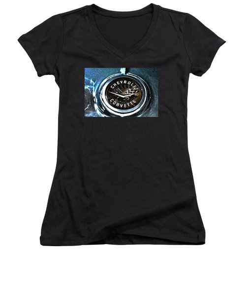 Women's V-Neck T-Shirt (Junior Cut) featuring the photograph Hdr Vintage Corvette Emblem Art by Lesa Fine