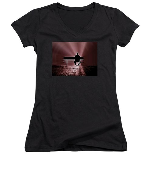 He Spoke Light Into The Darkness Women's V-Neck T-Shirt (Junior Cut) by Micki Findlay