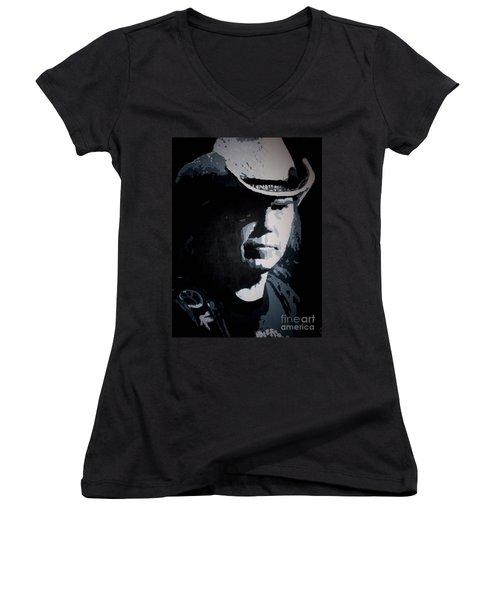 Heart Of Gold Women's V-Neck T-Shirt (Junior Cut) by ID Goodall