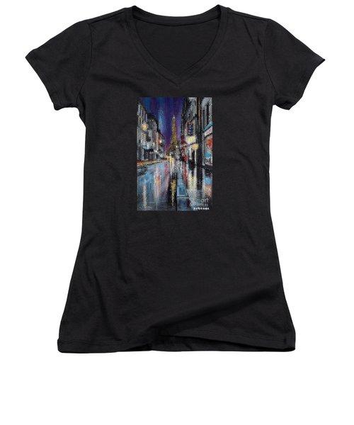 Heart Of Paris Women's V-Neck T-Shirt (Junior Cut)