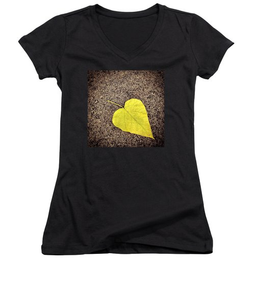 Heart Shaped Leaf On Pavement Women's V-Neck