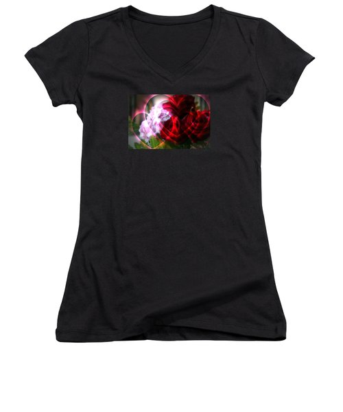 Hearts A Fire Women's V-Neck T-Shirt (Junior Cut) by Kay Novy