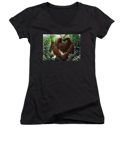 Women's V-Neck T-Shirt (Junior Cut) featuring the photograph Hearts And Flowers by Jennifer Wheatley Wolf