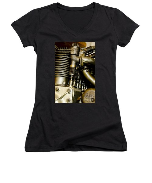 Women's V-Neck T-Shirt (Junior Cut) featuring the photograph Heath-henderson Motorcycle Engine by Wilma  Birdwell