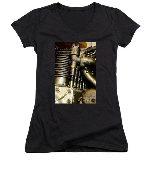 Heath-henderson Motorcycle Engine Women's V-Neck T-Shirt (Junior Cut) by Wilma  Birdwell