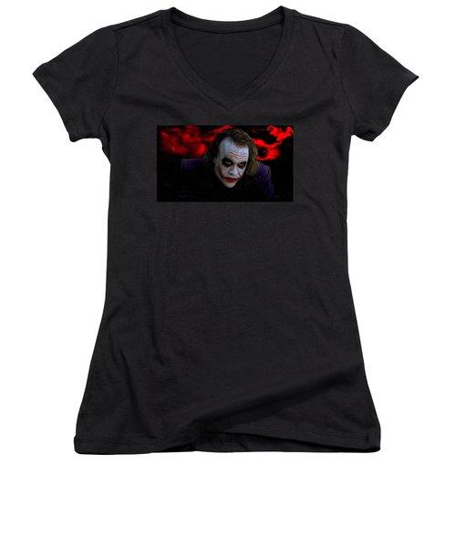 Heath Ledger As Joker Women's V-Neck T-Shirt (Junior Cut) by Image World