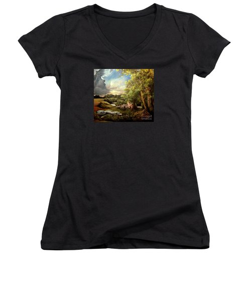 Women's V-Neck T-Shirt (Junior Cut) featuring the painting Heaven by Mikhail Savchenko