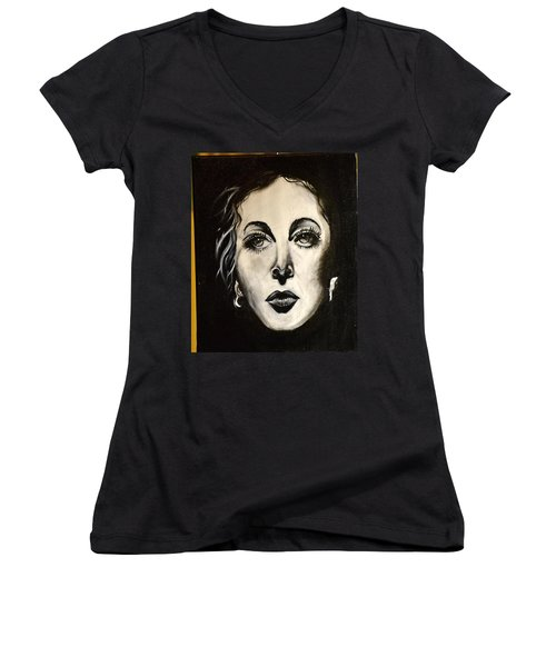 Women's V-Neck T-Shirt (Junior Cut) featuring the painting Hedi by Sandro Ramani