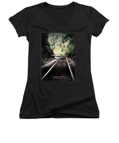 Hegia Burrow Railroad Tracks  Women's V-Neck (Athletic Fit)