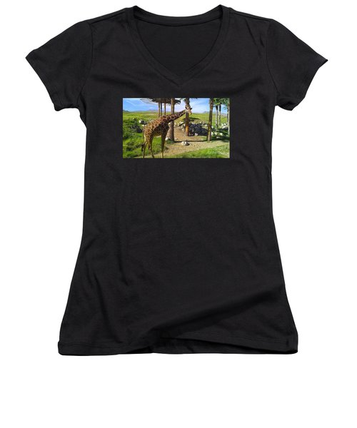 Women's V-Neck T-Shirt (Junior Cut) featuring the photograph Hello There by Chris Tarpening