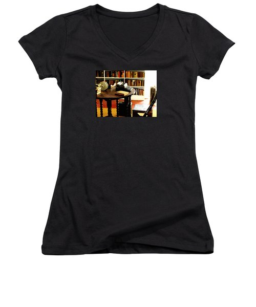 Hemingway's Studio Ernest Hemingway Key West Women's V-Neck T-Shirt (Junior Cut) by Iconic Images Art Gallery David Pucciarelli