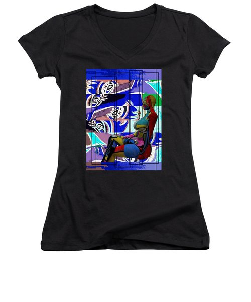 Her Abstract Journey Women's V-Neck T-Shirt