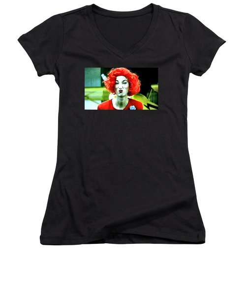 Women's V-Neck T-Shirt (Junior Cut) featuring the painting Her Name Is Li . . .  by Luis Ludzska