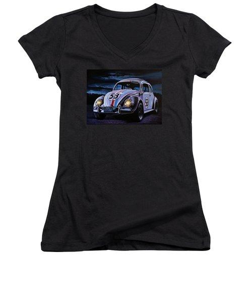 Herbie The Love Bug Painting Women's V-Neck