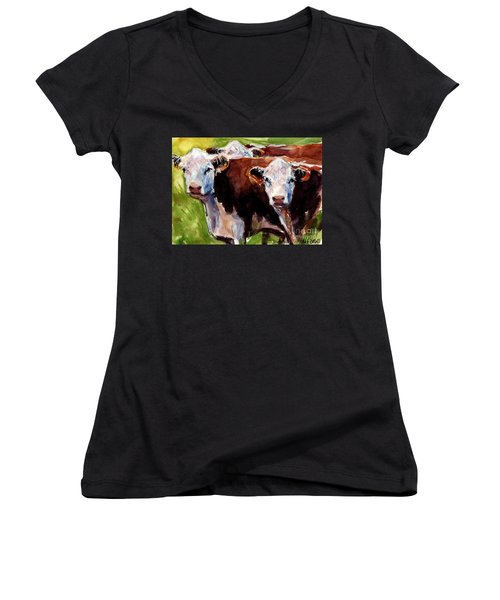 Hereford Ears Women's V-Neck (Athletic Fit)