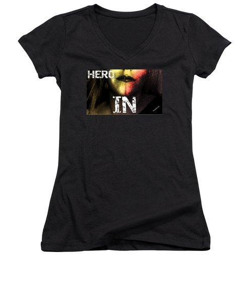 Women's V-Neck T-Shirt (Junior Cut) featuring the photograph Hero In Part One by Sir Josef - Social Critic - ART