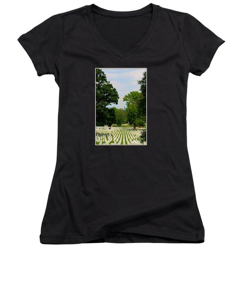Heroes And A Monument Women's V-Neck T-Shirt (Junior Cut) by Patti Whitten