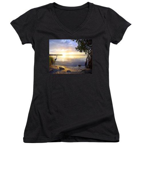 Heron Sunrise Women's V-Neck T-Shirt