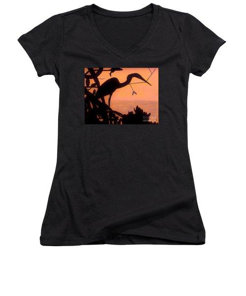 Women's V-Neck T-Shirt (Junior Cut) featuring the drawing Heron Sunset by D Hackett