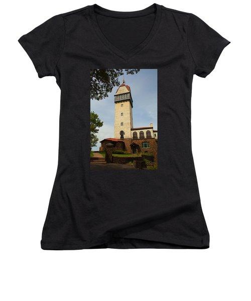Heublein Tower Women's V-Neck T-Shirt (Junior Cut) by Karol Livote