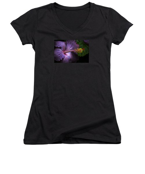 Hibiscus Bloom In Lavender Women's V-Neck (Athletic Fit)