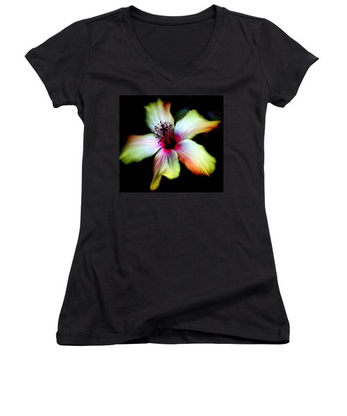 Hibiscus Women's V-Neck T-Shirt (Junior Cut) by Jodie Marie Anne Richardson Traugott          aka jm-ART