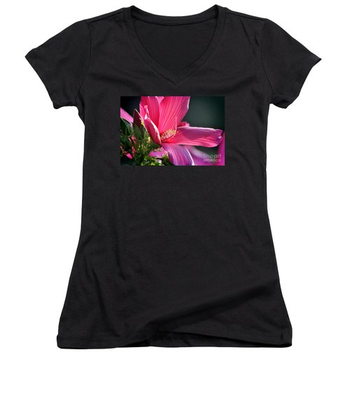 Women's V-Neck T-Shirt (Junior Cut) featuring the photograph Hibiscus Morning Bright by Nava Thompson