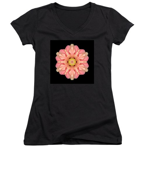 Hibiscus Rosa-sinensis I Flower Mandala Women's V-Neck (Athletic Fit)