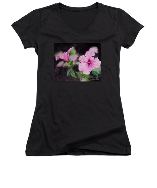 Hibiscus - So Pretty In Pink Women's V-Neck T-Shirt