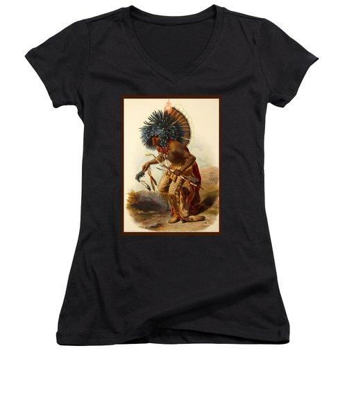 Hidatsa Warrior Women's V-Neck