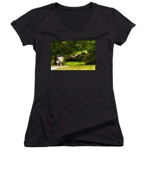 Hidden Down The Road Women's V-Neck T-Shirt