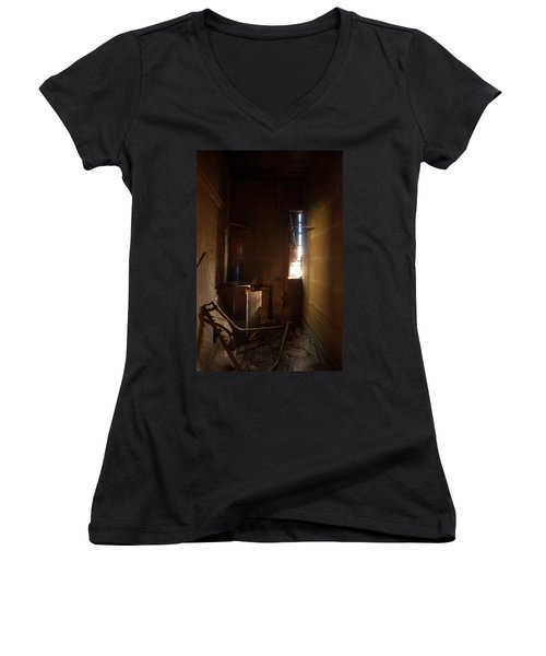 Women's V-Neck T-Shirt (Junior Cut) featuring the photograph Hidden In Shadow by Fran Riley