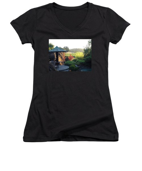 Women's V-Neck T-Shirt (Junior Cut) featuring the photograph Hide Out  by Shawn Marlow