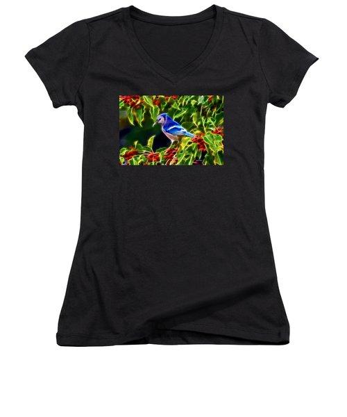 Hiding In The Berries Women's V-Neck T-Shirt