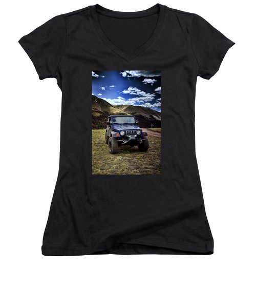 High Country Adventure Women's V-Neck T-Shirt (Junior Cut) by Ellen Heaverlo