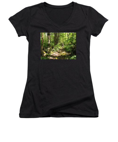 Hiking Off Trail Women's V-Neck T-Shirt (Junior Cut) by Melinda Fawver