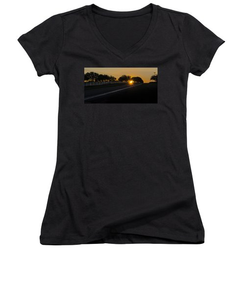 Hill Country Sunrise 2 Women's V-Neck T-Shirt (Junior Cut) by Debbie Karnes