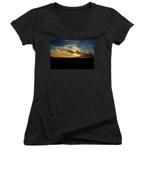 Hill Country Sunset Women's V-Neck T-Shirt (Junior Cut) by Dave Files