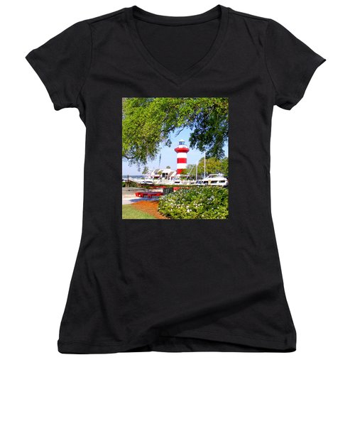Hilton Head Lighthouse And Marina Women's V-Neck (Athletic Fit)