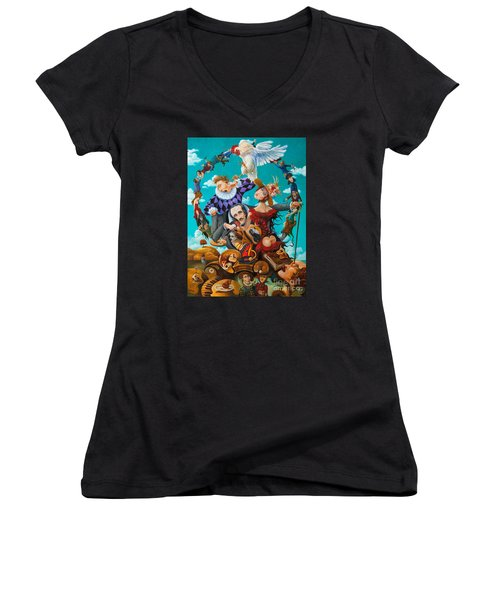 Women's V-Neck T-Shirt (Junior Cut) featuring the painting His Majesty Edgar Allan Poe by Igor Postash