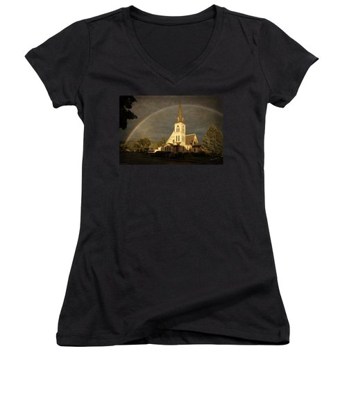 Historic Methodist Church In Rainbow Light Women's V-Neck T-Shirt (Junior Cut) by Mick Anderson
