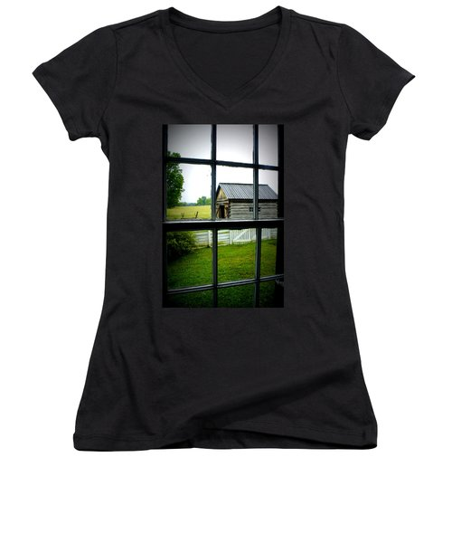 Women's V-Neck T-Shirt (Junior Cut) featuring the photograph Historic New Market by Laurie Perry