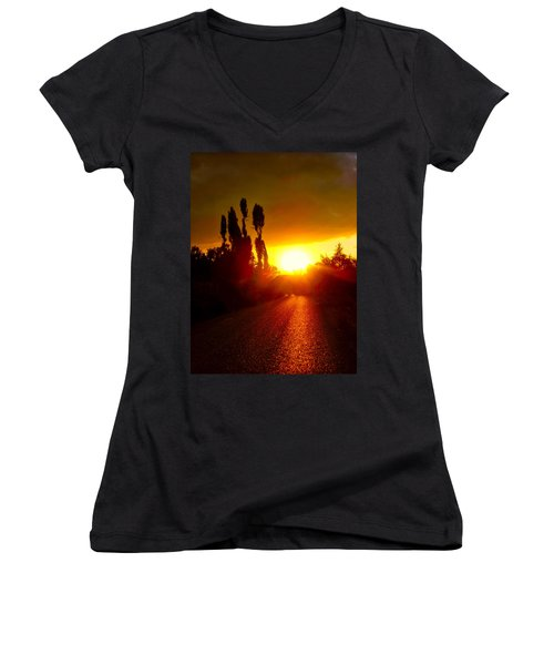 Hit The Road Jack Women's V-Neck T-Shirt (Junior Cut) by Zafer Gurel